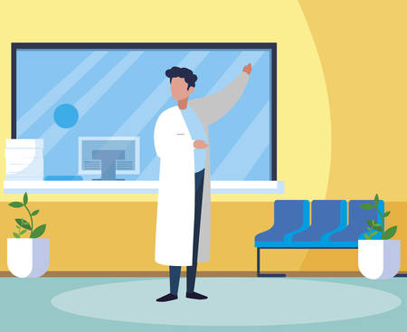 male medicine worker with uniform in clinic reception vector illustration design Stock Illustratie
