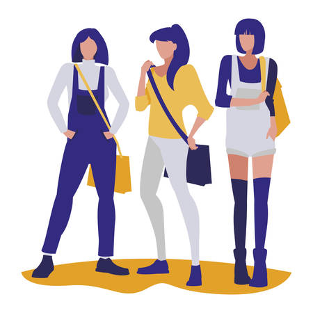 young girls students modeling vector illustration design