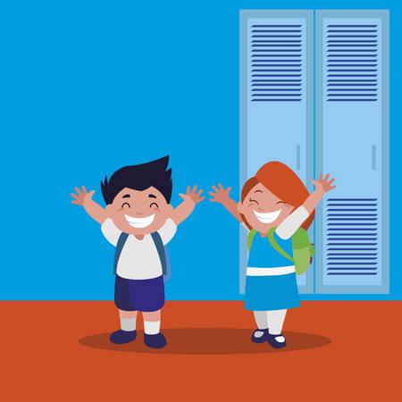 happy little school kids in the school corridor vector illustration design Ilustração Vetorial