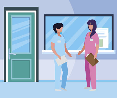 female medicine workers in hospital reception vector illustration design