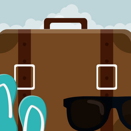 suitcase travel vacations with sunglasses and sandals vector illustration design