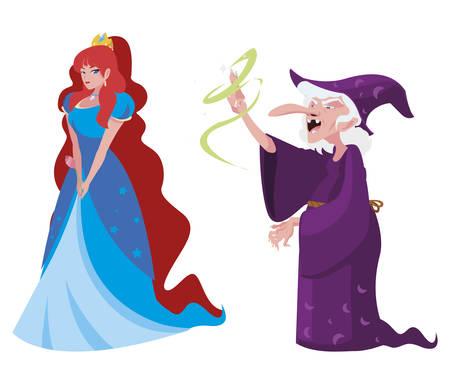 Bella princesa con bruja de cuentos personajes, diseño de ilustraciones vectoriales Ilustración de vector