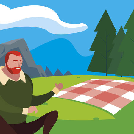 man seated in the field picnic day vector illustration design Illustration