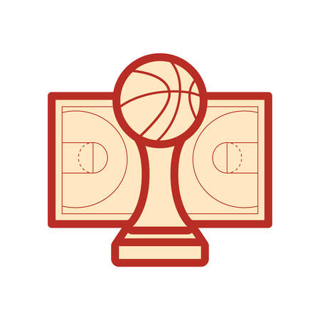 trophy ball basketball sport court floor vector illustration Illustration