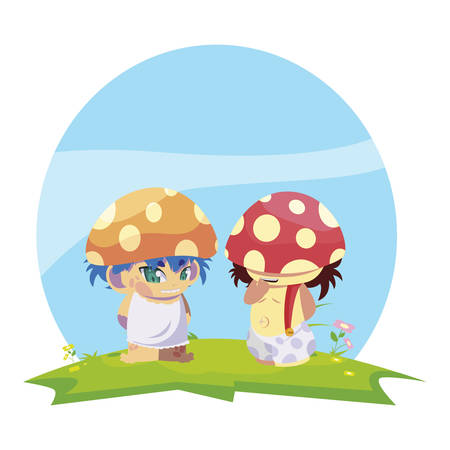 fungus elfs in the garden magic characters vector illustration design