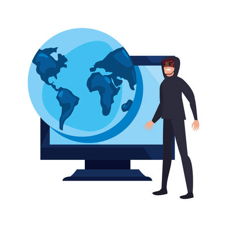 hacker man world computer cybersecurity data protection vector illustration