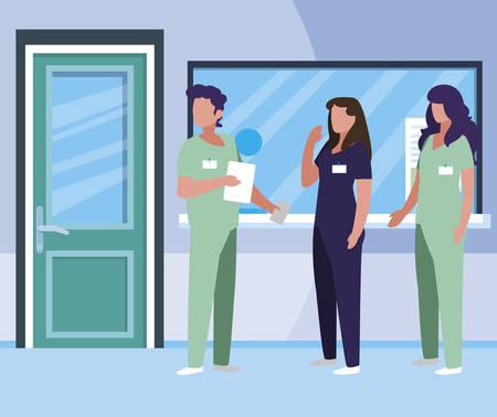 group medicine workers in hospital reception vector illustration design