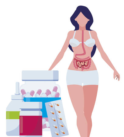 female anatomy with digestive system and medicines vector illustration design