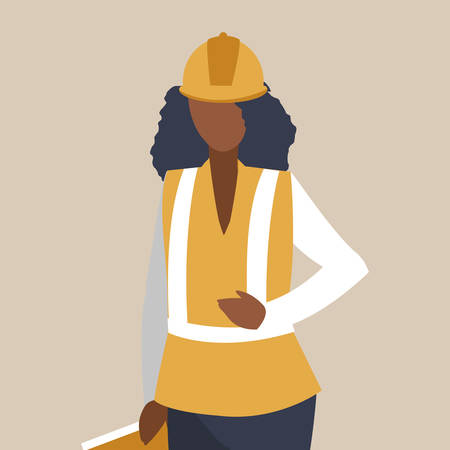 female industrial black worker character vector illustration design