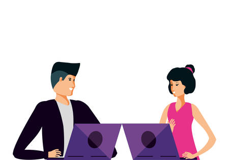 young couple using laptop computer vector illustration design Çizim