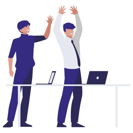 couple of businessmen in the office scene vector illustration design Ilustração