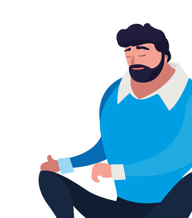 strong and bearded man seated vector illustration design