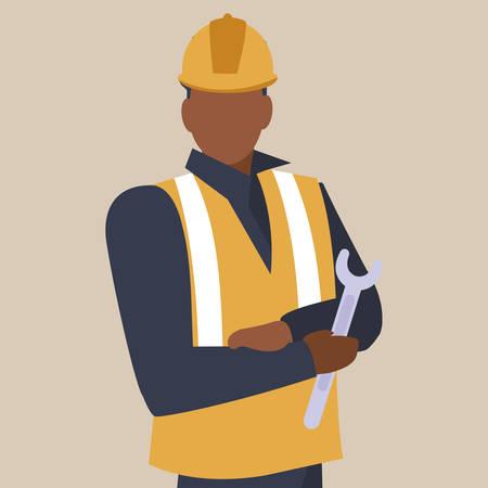 industrial worker black avatar character vector illustration design