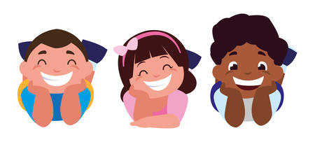 happy little interracial kids characters vector illustration design Illusztráció