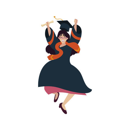beautiful woman student graduated celebrating vector illustration design