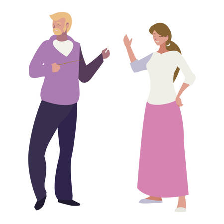 teachers couple avatars characters vector illustration design Vectores