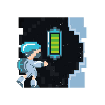 video game avatar pixelated with battery level vector illustration design