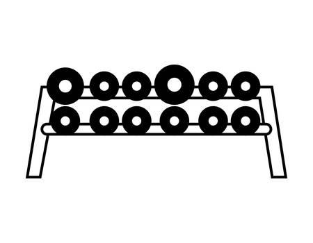 dumbbells weight lifting in platform equipment vector illustration design