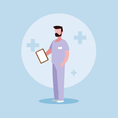 doctor profession with uniform and clipboard vector illustration design