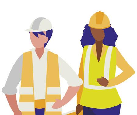 Par de constructores trabajando, diseño de ilustraciones vectoriales