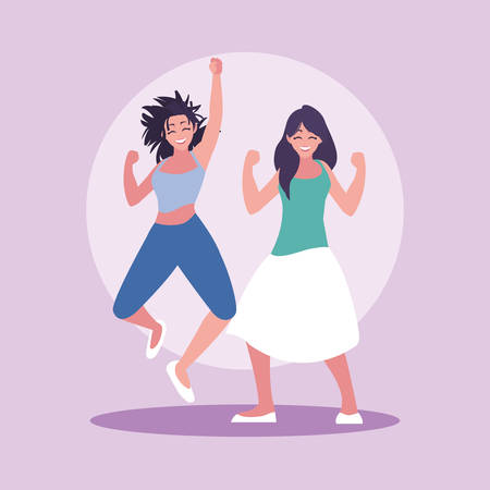 group of young women happy celebrating with hands up vector illustration design Illustration