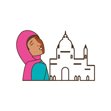 islamic little girl with mosque building vector illustration design