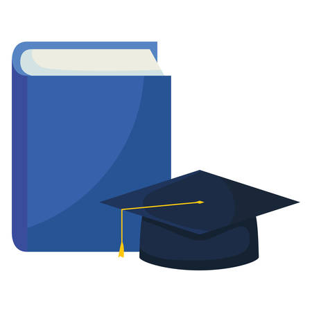 text book with graduation hat vector illustration design Illustration