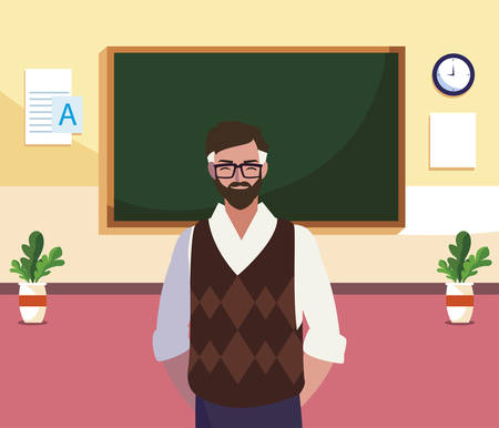 teacher male in the classroom character vector illustration design