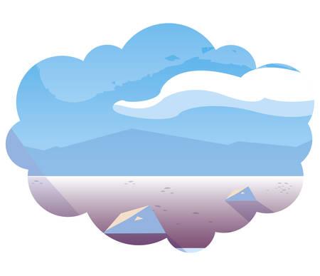 beautiful snowscape scene icon vector illustration design