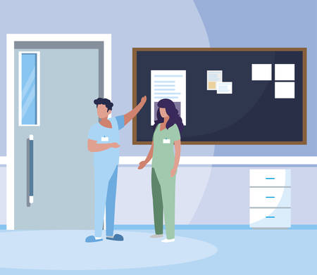 couple medicine workers with uniform in hospital corridor vector illustration design Çizim