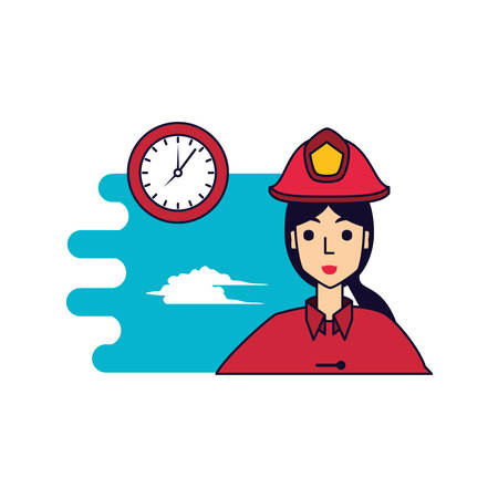 firefighter professional female with clock time vector illustration design Foto de archivo - 126677218