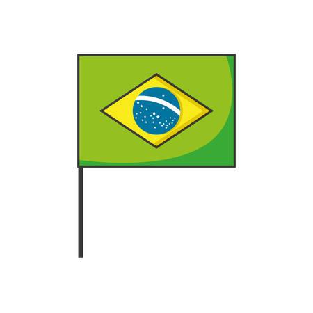 flag of brazil in stick isolated icon vector illustration design Vetores