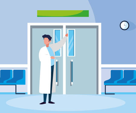 male medicine worker in entrance to the operating room vector illustration design Stock Illustratie