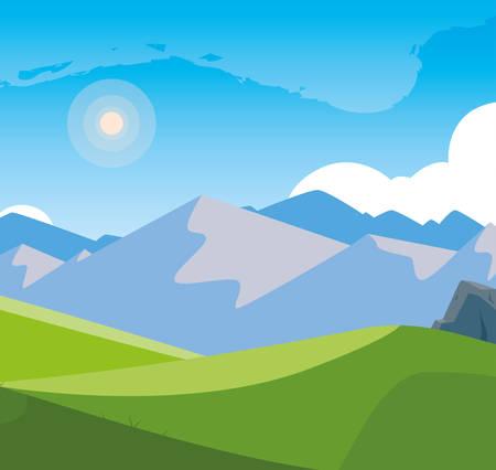 landscape mountainous scene icon vector illustration design Çizim