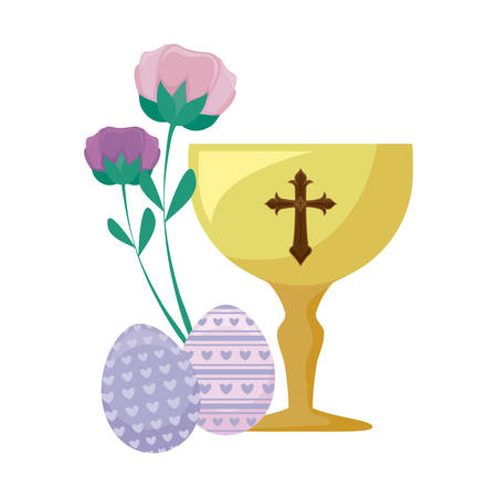 chalice with eggs of easter and flowers vector illustration design Vectores