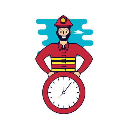 firefighter professional with clock time vector illustration design 스톡 콘텐츠 - 126853735
