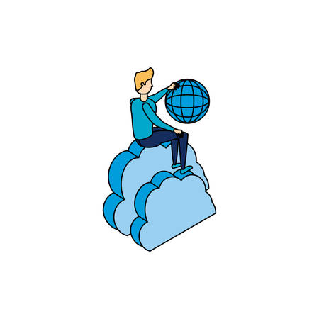businessman with sphere browser and cloud computing vector illustration design