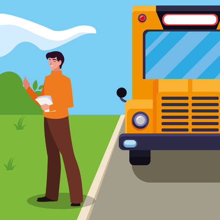 teacher male with documents in stop bus vector illustration design Vectores