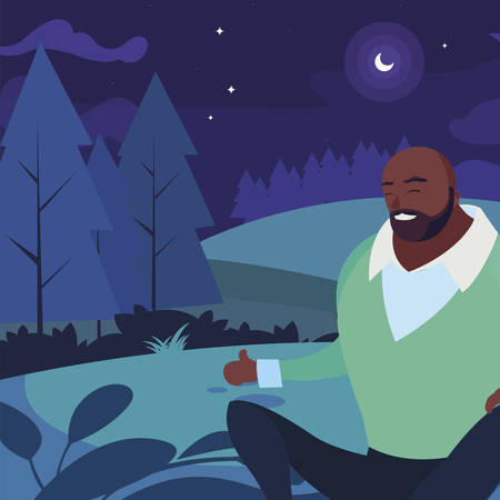 black strong and bearded man seated in the field at night vector illustration design