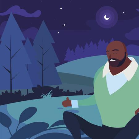 Hombre negro fuerte y barbudo sentado en el campo en la noche, diseño de ilustraciones vectoriales