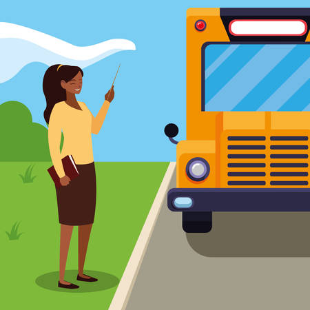 black female teacher in the bus stop vector illustration design Ilustracja