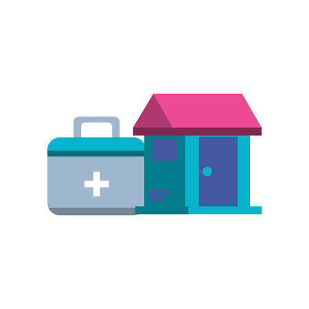 first aid kit with house facade vector illustration design