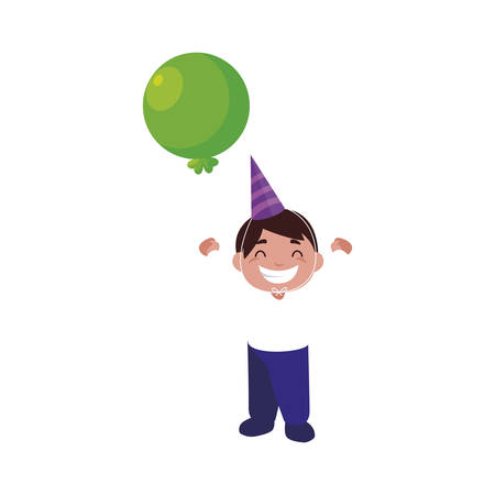 cute happy boy with birthday balloons helium vector illustration design Vettoriali