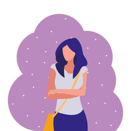young girl student modeling vector illustration design 矢量图片