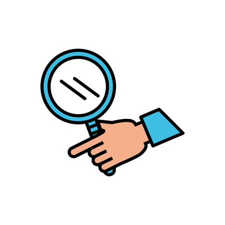 hand with search magnifying glass vector illustration design