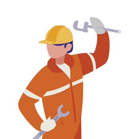 industrial worker with tools avatar character vector illustration design