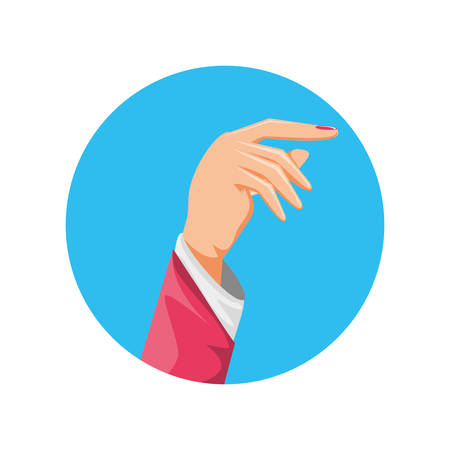 hand human in frame circular vector illustration design Illustration