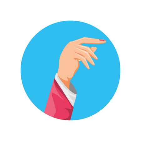 hand human in frame circular vector illustration design Illustration
