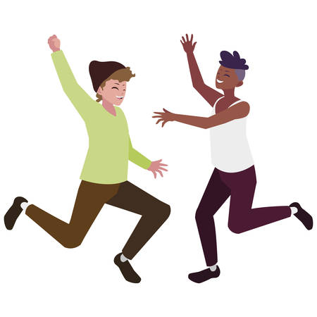 Hombres jóvenes interraciales celebrando personajes, diseño de ilustraciones vectoriales