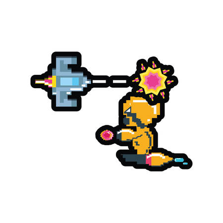 video game avatar pixelated with spaceship vector illustration design